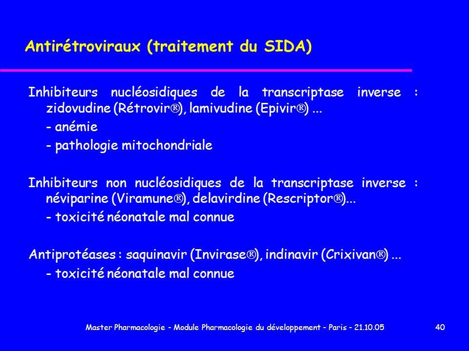 Master Pharmacologie - Module Pharmacologie du développement - Paris - 21.10.0540 Antirétroviraux (traitement du SIDA) Inhibiteurs nucléosidiques de l