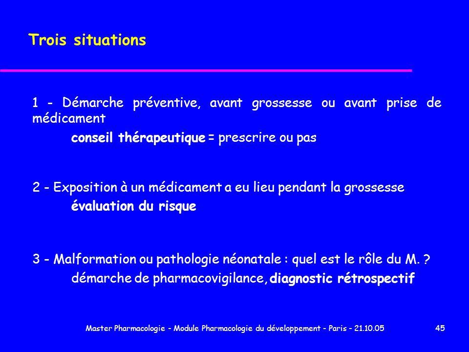 Master Pharmacologie - Module Pharmacologie du développement - Paris - 21.10.0545 Trois situations 1 - Démarche préventive, avant grossesse ou avant p