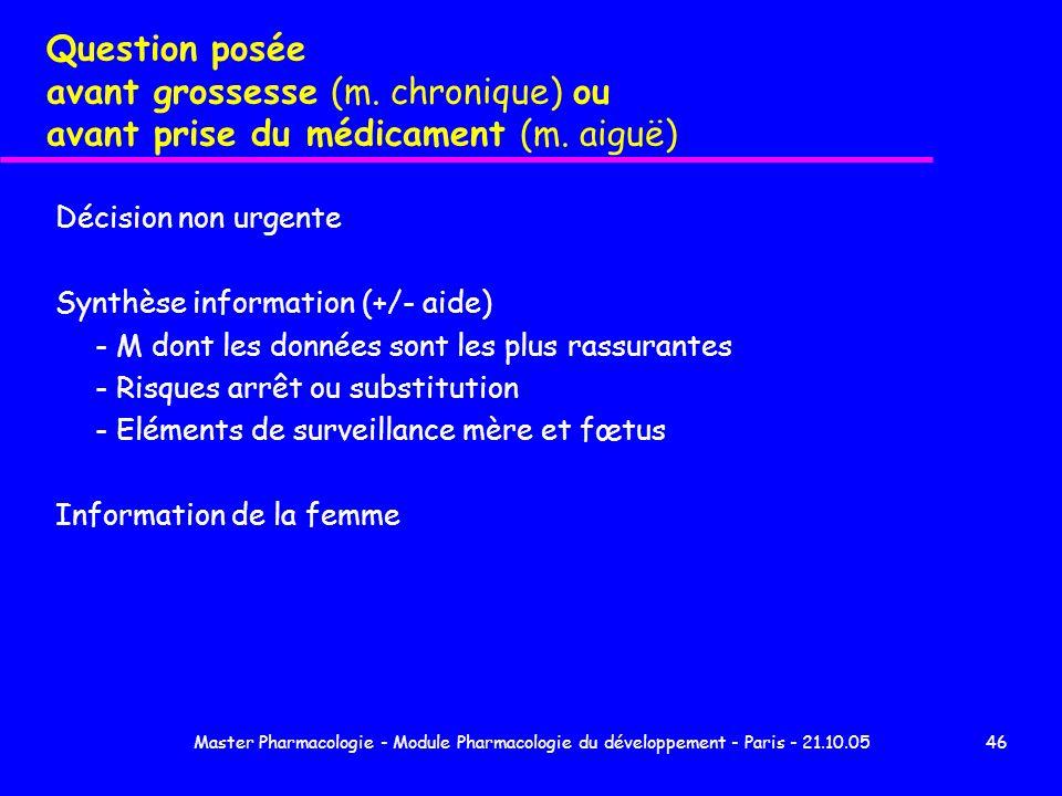 Master Pharmacologie - Module Pharmacologie du développement - Paris - 21.10.0546 Question posée avant grossesse (m. chronique) ou avant prise du médi