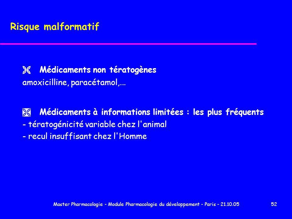 Master Pharmacologie - Module Pharmacologie du développement - Paris - 21.10.0552 Risque malformatif Ë Médicaments non tératogènes amoxicilline, parac