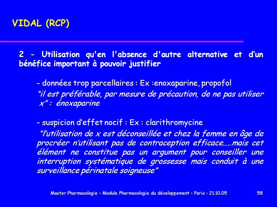 Master Pharmacologie - Module Pharmacologie du développement - Paris - 21.10.0558 2 - Utilisation qu'en l'absence d'autre alternative et dun bénéfice
