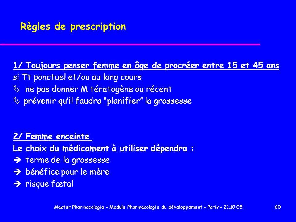 Master Pharmacologie - Module Pharmacologie du développement - Paris - 21.10.0560 Règles de prescription 1/ Toujours penser femme en âge de procréer e