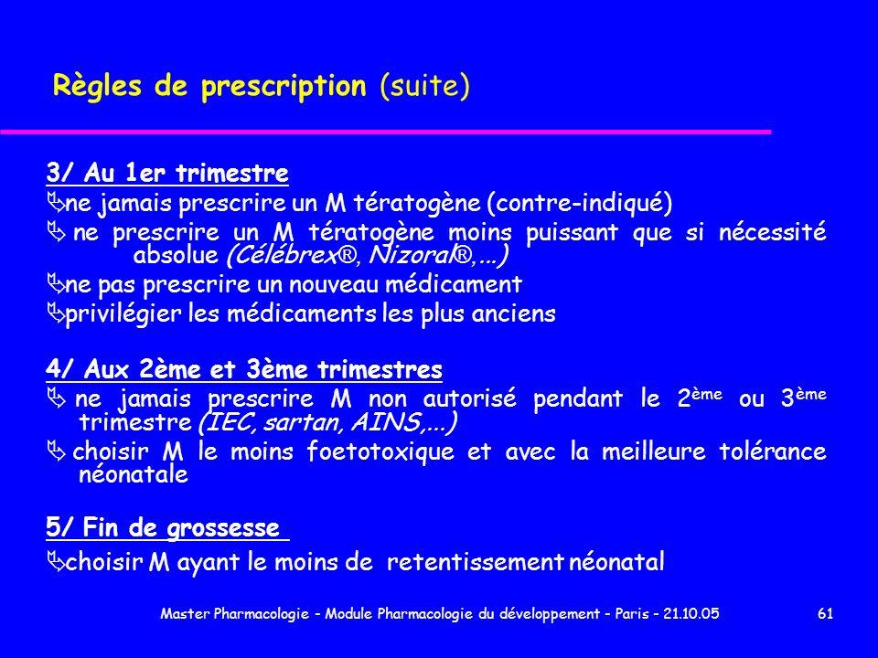 Master Pharmacologie - Module Pharmacologie du développement - Paris - 21.10.0561 Règles de prescription (suite) 3/ Au 1er trimestre ne jamais prescri