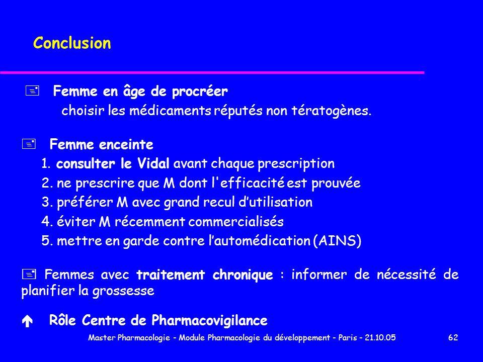 Master Pharmacologie - Module Pharmacologie du développement - Paris - 21.10.0562 Conclusion + Femme en âge de procréer choisir les médicaments réputé
