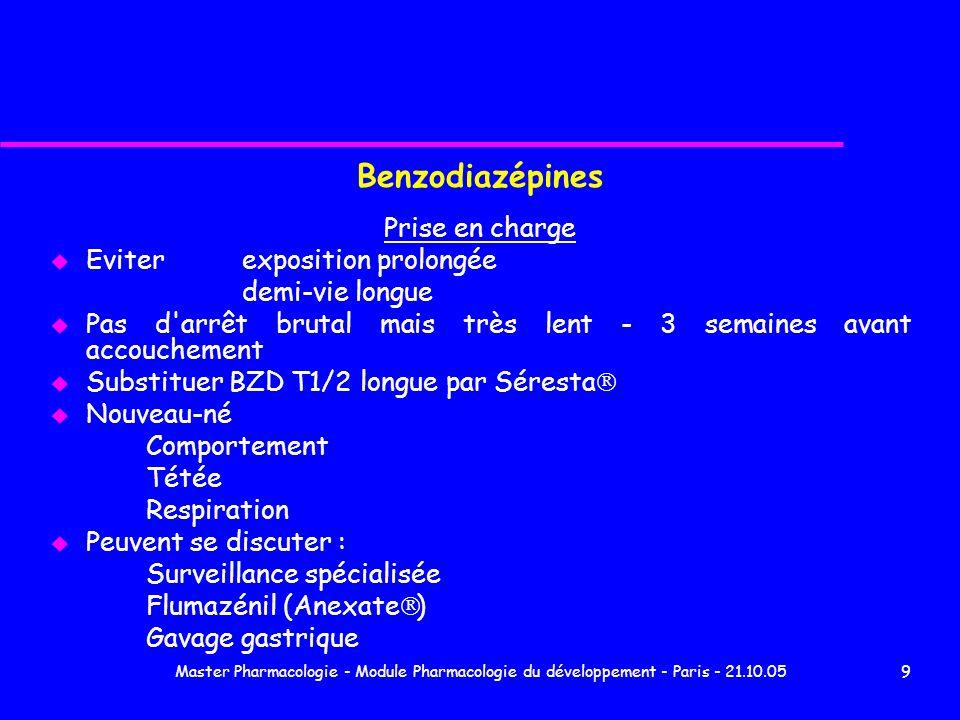 Master Pharmacologie - Module Pharmacologie du développement - Paris - 21.10.0510 Données personnelles 2004 Connue 71 70 naissances (63 à terme) 1 mort in utero Malformations 6 (8,5%) Hospitalisation 51 (73%) durée médiane 5 j [2-35] oxazépam 3 j [2-4] vs autres BZD 7,5 j [2-35] p = 0,002