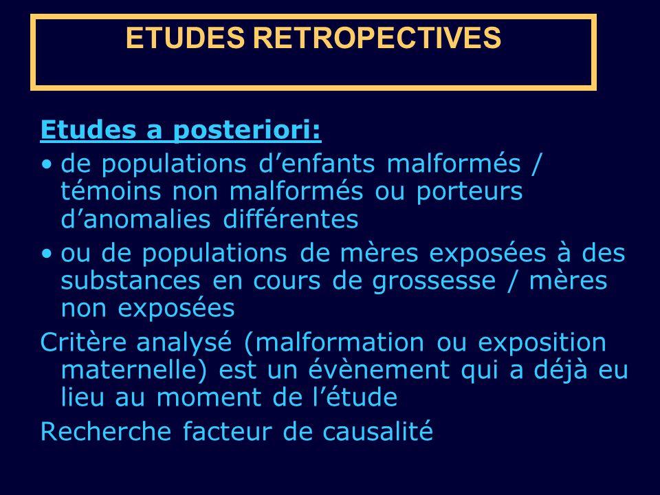 ETUDES RETROPECTIVES Etudes a posteriori: de populations denfants malformés / témoins non malformés ou porteurs danomalies différentes ou de populatio