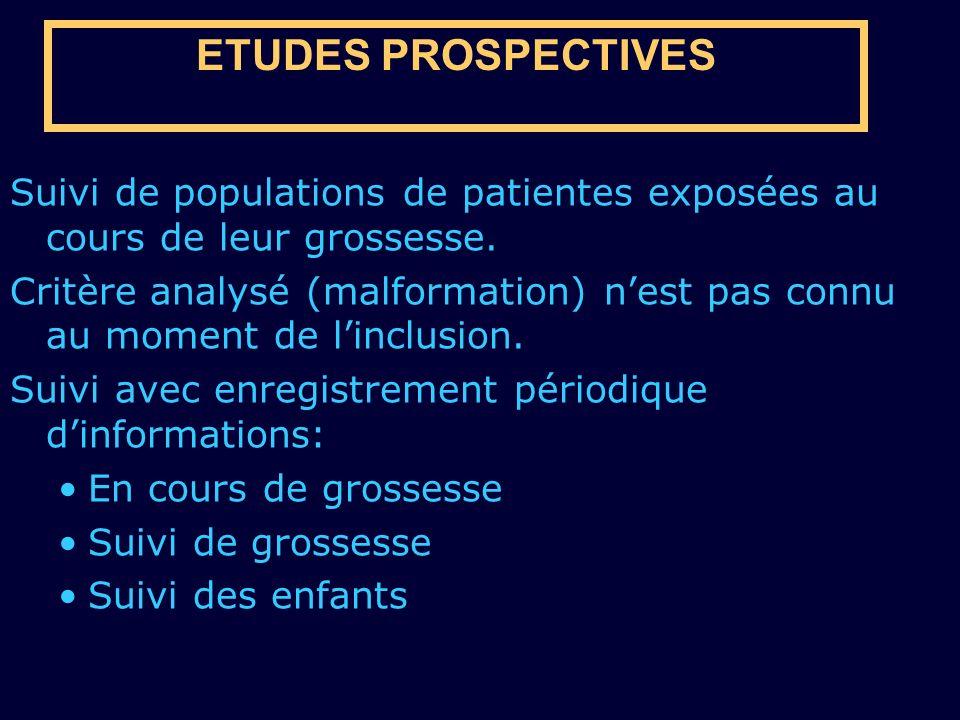ETUDES PROSPECTIVES Suivi de populations de patientes exposées au cours de leur grossesse. Critère analysé (malformation) nest pas connu au moment de