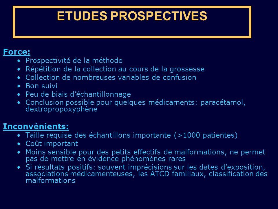 ETUDES PROSPECTIVES Force: Prospectivité de la méthode Répétition de la collection au cours de la grossesse Collection de nombreuses variables de conf
