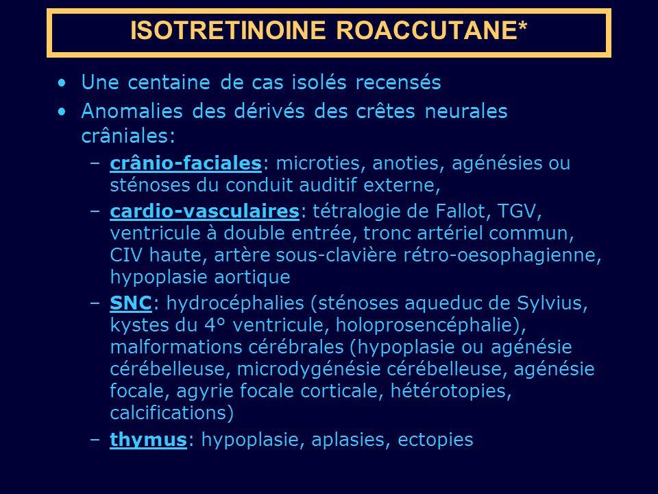 Une centaine de cas isolés recensés Anomalies des dérivés des crêtes neurales crâniales: –crânio-faciales: microties, anoties, agénésies ou sténoses d