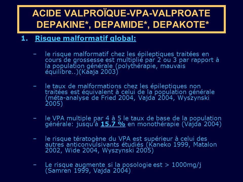 1.Risque malformatif global: –le risque malformatif chez les épileptiques traitées en cours de grossesse est multiplié par 2 ou 3 par rapport à la pop