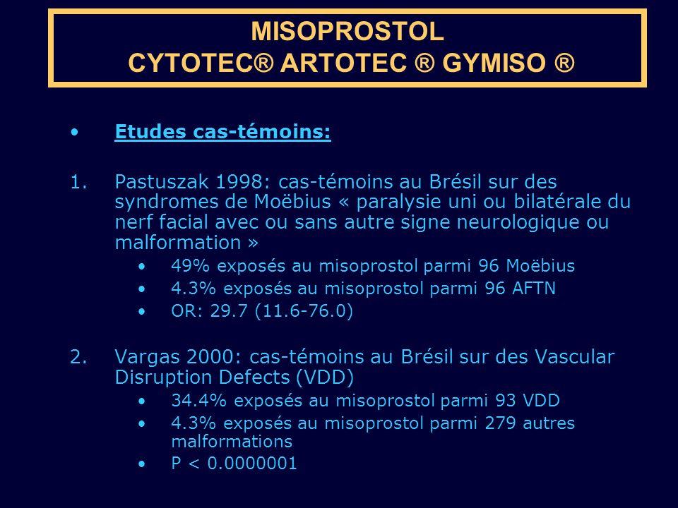 Etudes cas-témoins: 1.Pastuszak 1998: cas-témoins au Brésil sur des syndromes de Moëbius « paralysie uni ou bilatérale du nerf facial avec ou sans aut