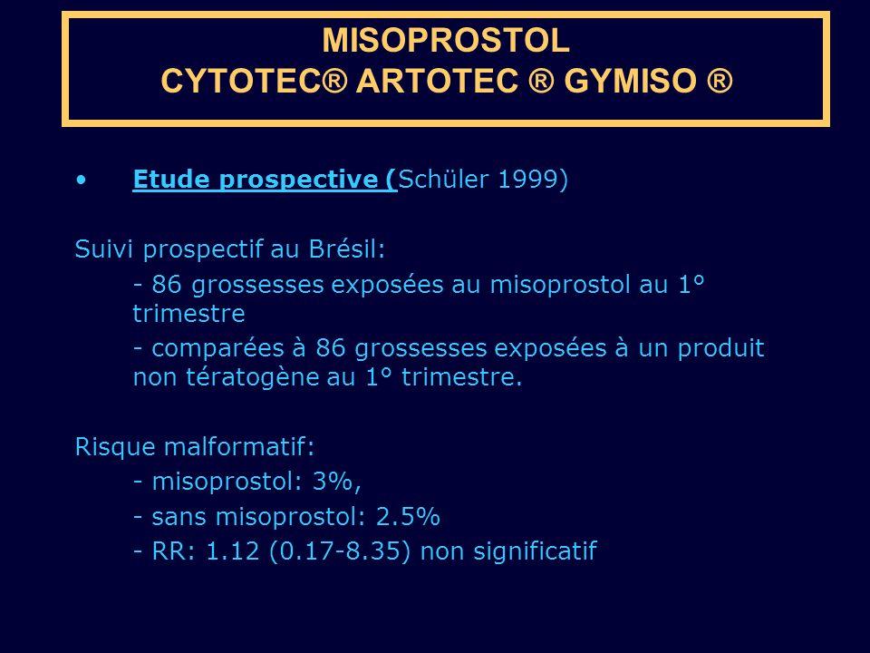 Etude prospective (Schüler 1999) Suivi prospectif au Brésil: - 86 grossesses exposées au misoprostol au 1° trimestre - comparées à 86 grossesses expos