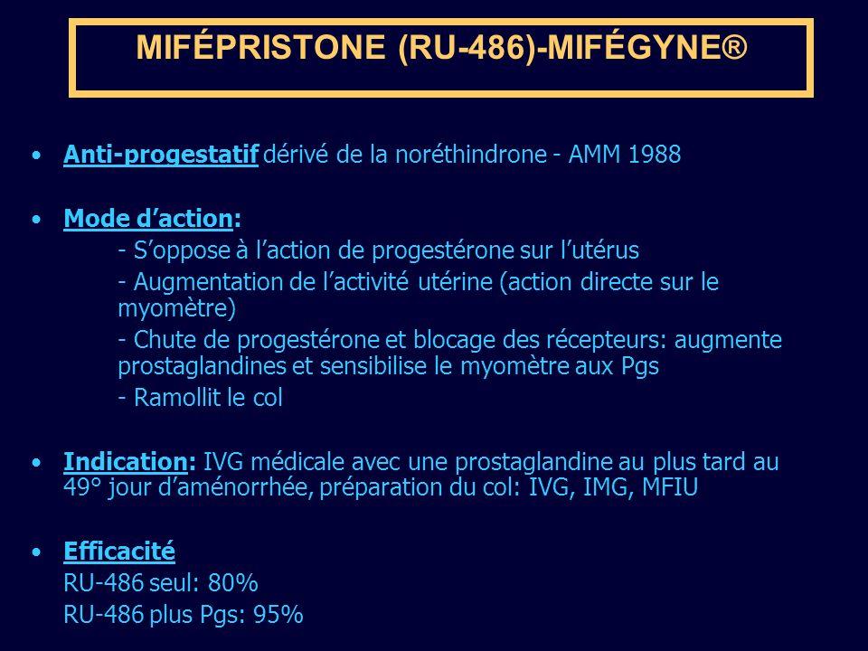 MIFÉPRISTONE (RU-486)-MIFÉGYNE® Anti-progestatif dérivé de la noréthindrone - AMM 1988 Mode daction: - Soppose à laction de progestérone sur lutérus -