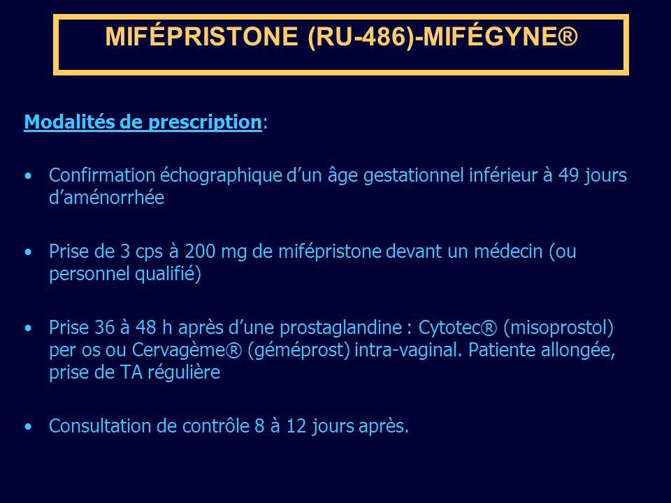 MIFÉPRISTONE (RU-486)-MIFÉGYNE® Modalités de prescription: Confirmation échographique dun âge gestationnel inférieur à 49 jours daménorrhée Prise de 3