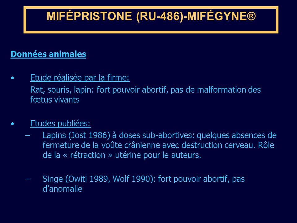 MIFÉPRISTONE (RU-486)-MIFÉGYNE® Données animales Etude réalisée par la firme: Rat, souris, lapin: fort pouvoir abortif, pas de malformation des fœtus
