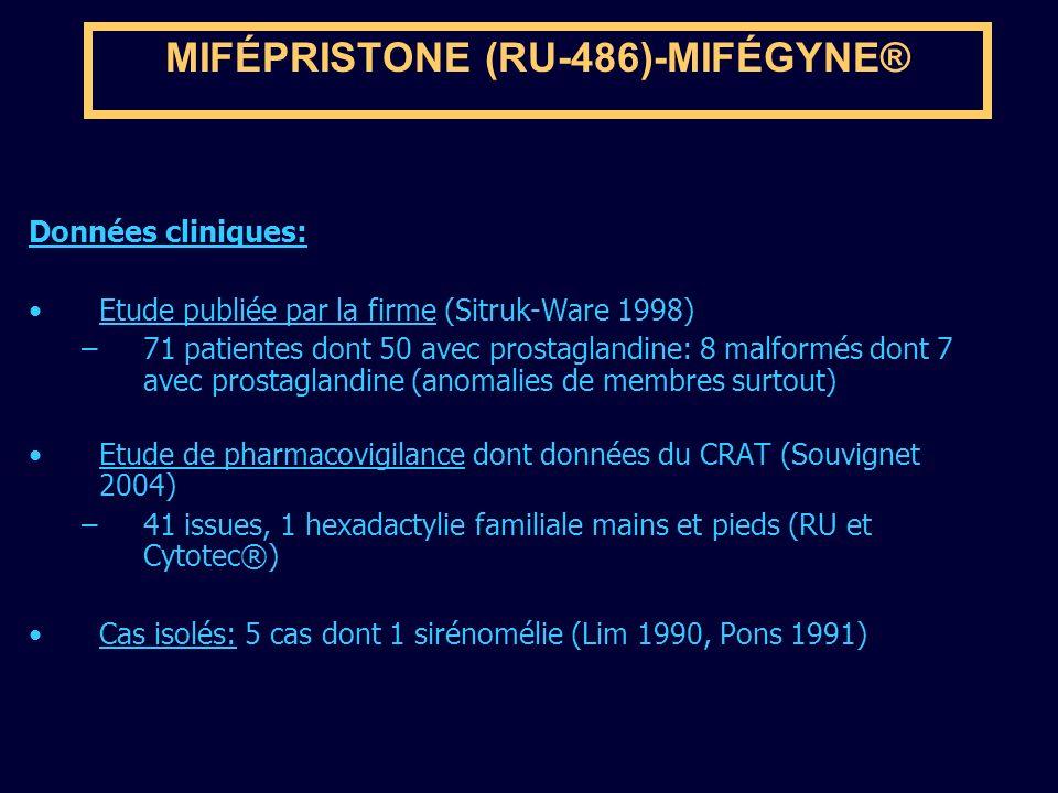 MIFÉPRISTONE (RU-486)-MIFÉGYNE® Données cliniques: Etude publiée par la firme (Sitruk-Ware 1998) –71 patientes dont 50 avec prostaglandine: 8 malformé