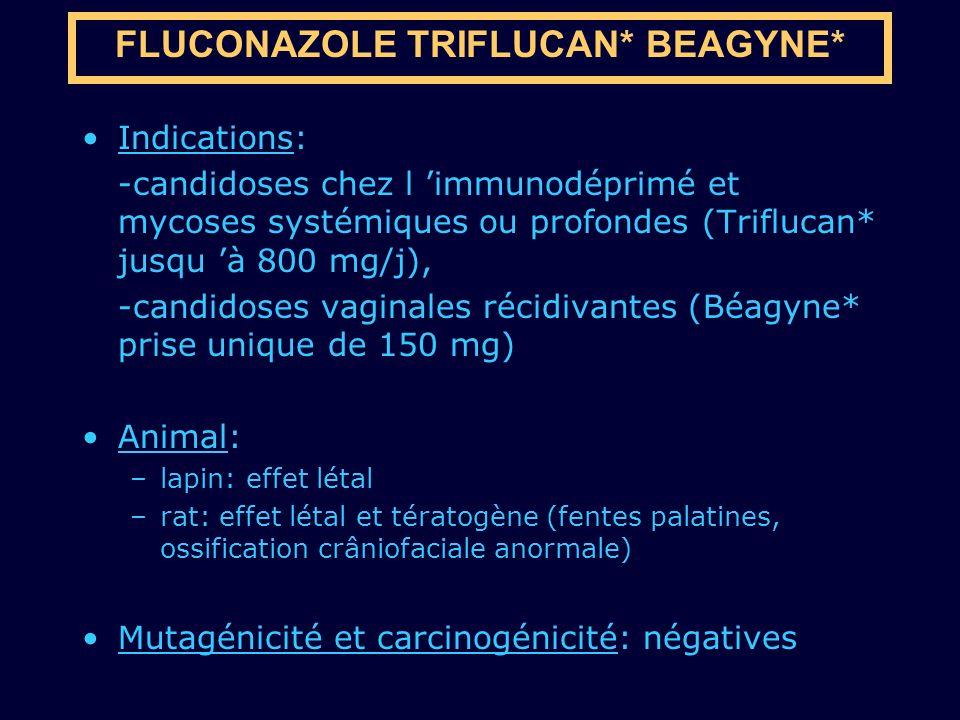 Indications: -candidoses chez l immunodéprimé et mycoses systémiques ou profondes (Triflucan* jusqu à 800 mg/j), -candidoses vaginales récidivantes (B