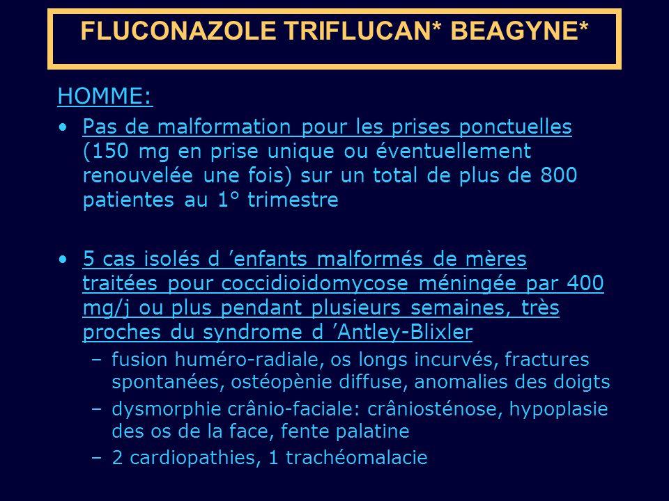 HOMME: Pas de malformation pour les prises ponctuelles (150 mg en prise unique ou éventuellement renouvelée une fois) sur un total de plus de 800 pati