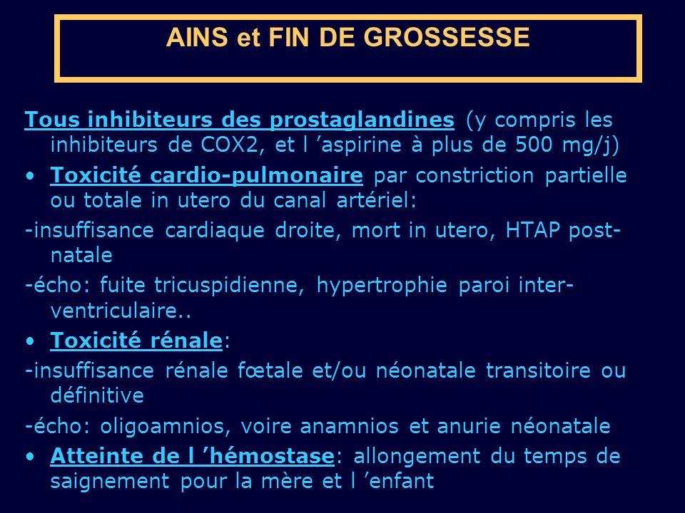 AINS et FIN DE GROSSESSE Tous inhibiteurs des prostaglandines (y compris les inhibiteurs de COX2, et l aspirine à plus de 500 mg/j) Toxicité cardio-pu