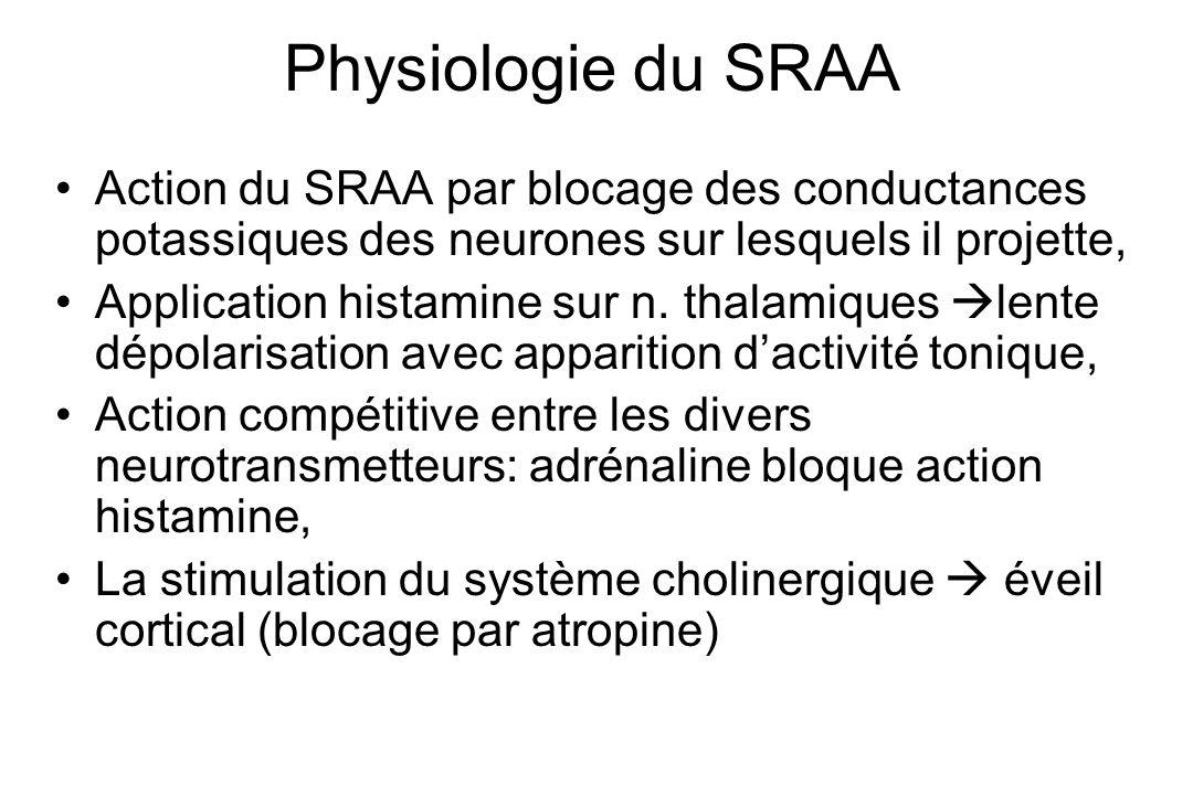 Physiologie du SRAA Action du SRAA par blocage des conductances potassiques des neurones sur lesquels il projette, Application histamine sur n. thalam