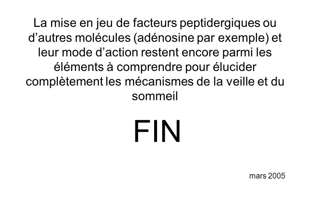 FIN mars 2005 La mise en jeu de facteurs peptidergiques ou dautres molécules (adénosine par exemple) et leur mode daction restent encore parmi les élé