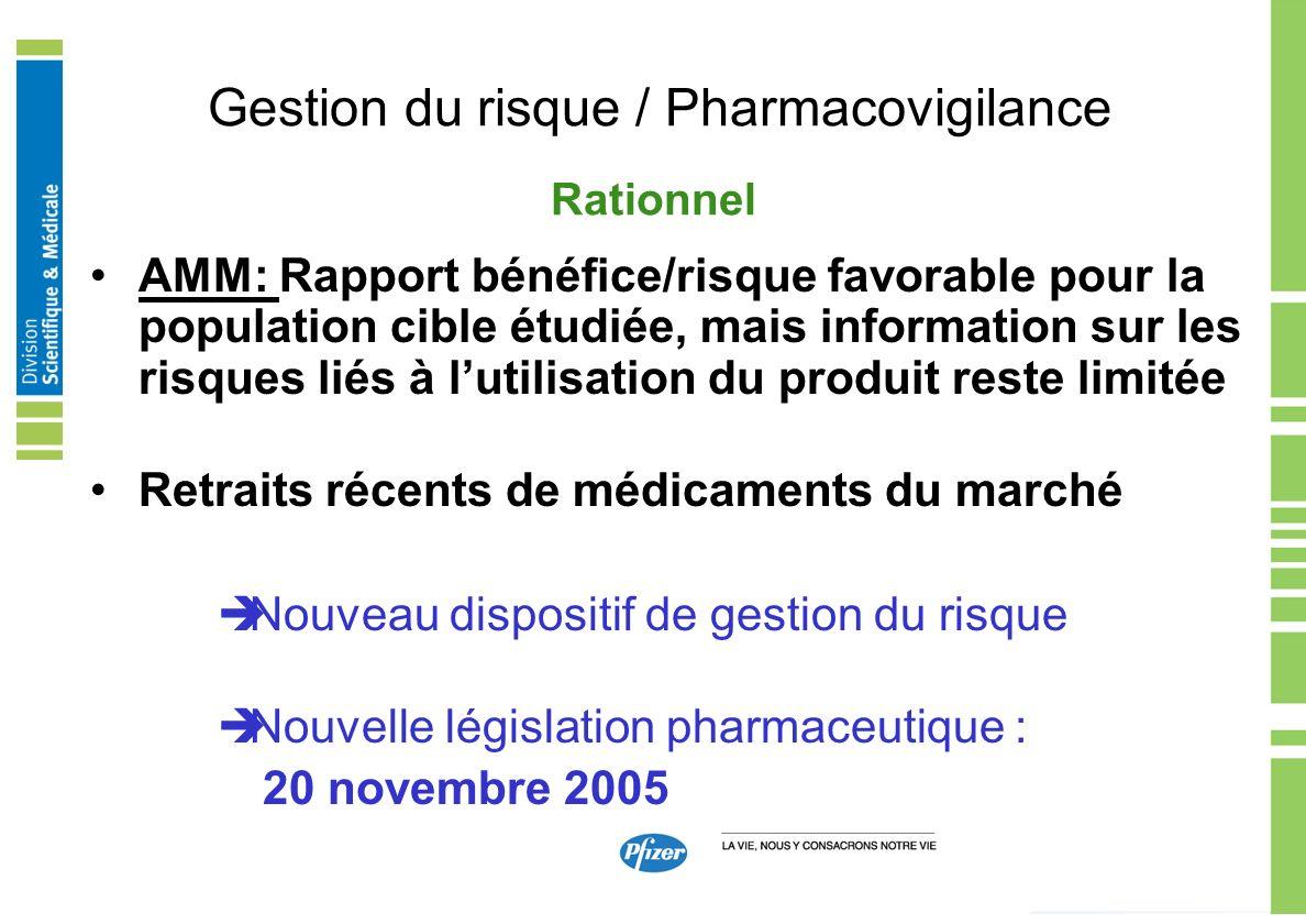 Gestion du risque / Pharmacovigilance AMM: Rapport bénéfice/risque favorable pour la population cible étudiée, mais information sur les risques liés à