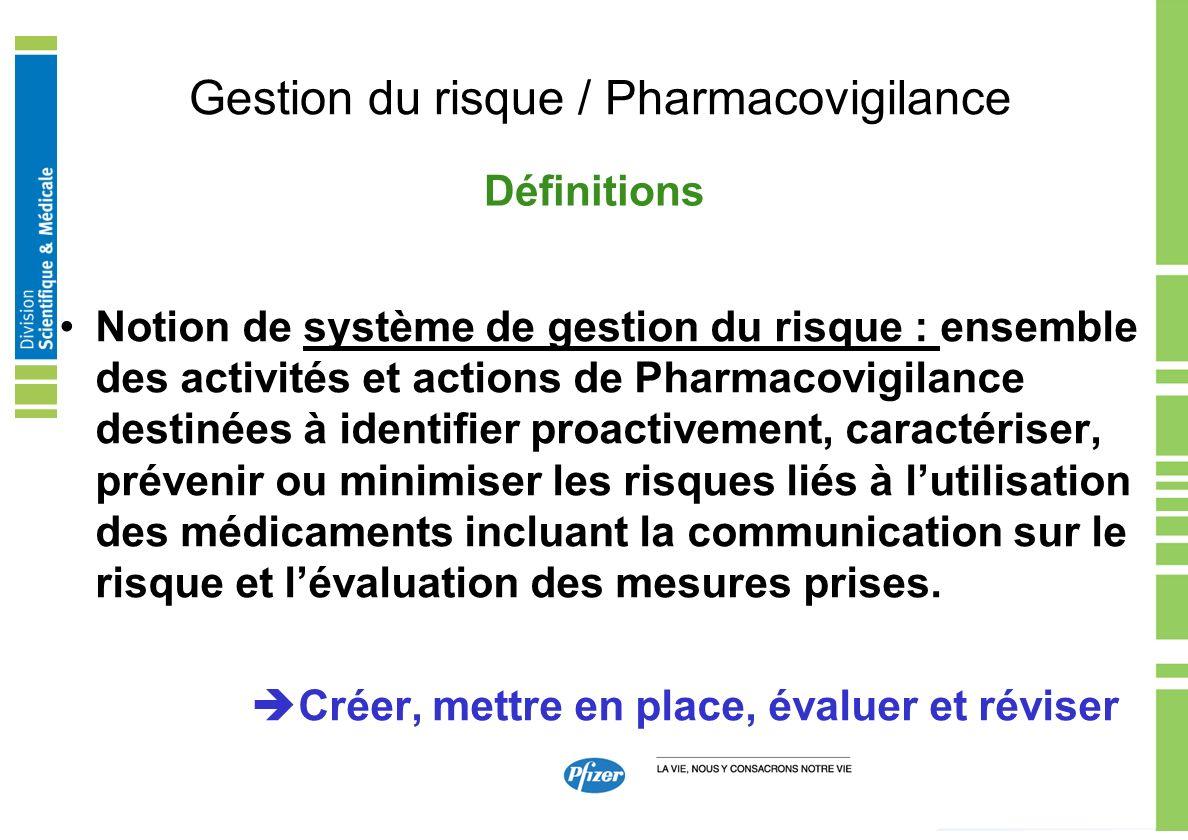 Gestion du risque / Pharmacovigilance Notion de système de gestion du risque : ensemble des activités et actions de Pharmacovigilance destinées à iden