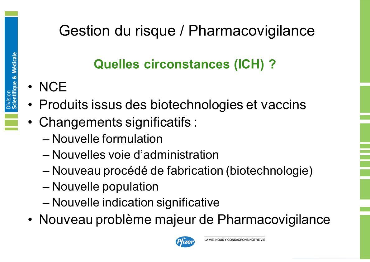 Gestion du risque / Pharmacovigilance NCE Produits issus des biotechnologies et vaccins Changements significatifs : –Nouvelle formulation –Nouvelles v