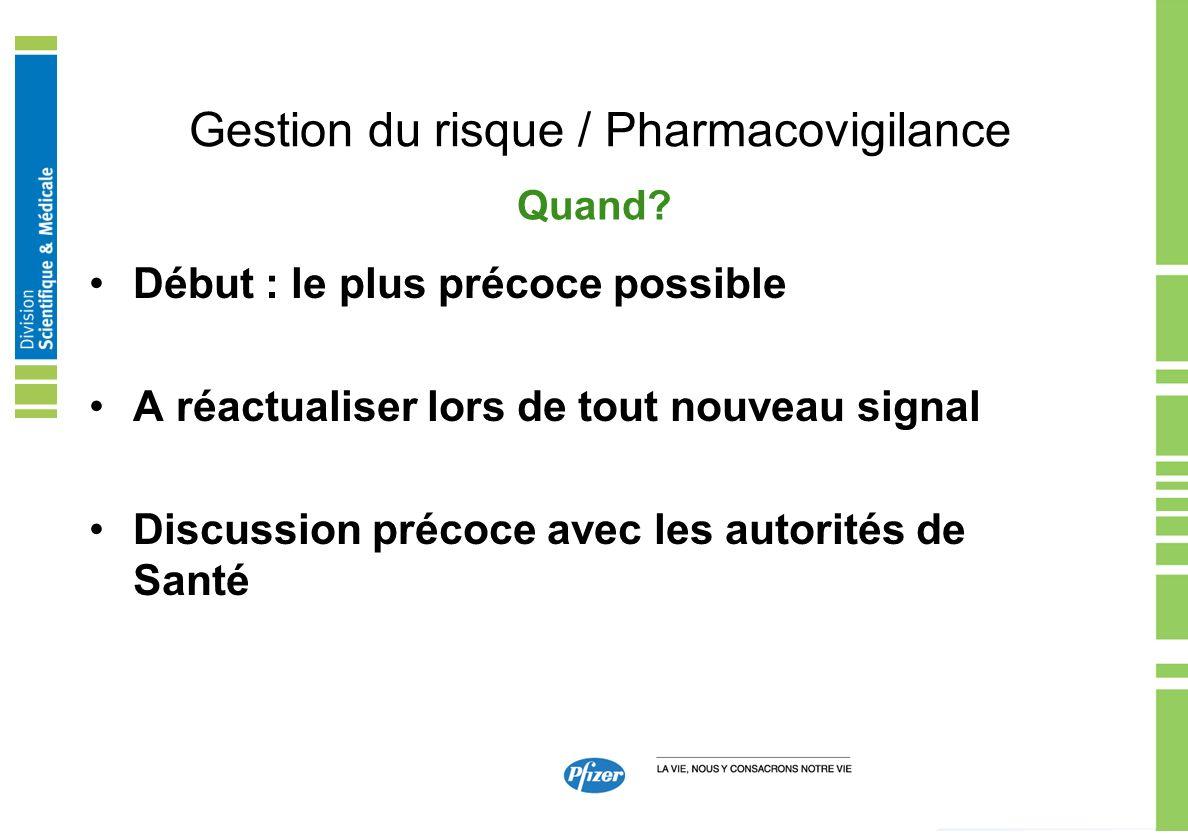 Gestion du risque / Pharmacovigilance Début : le plus précoce possible A réactualiser lors de tout nouveau signal Discussion précoce avec les autorité