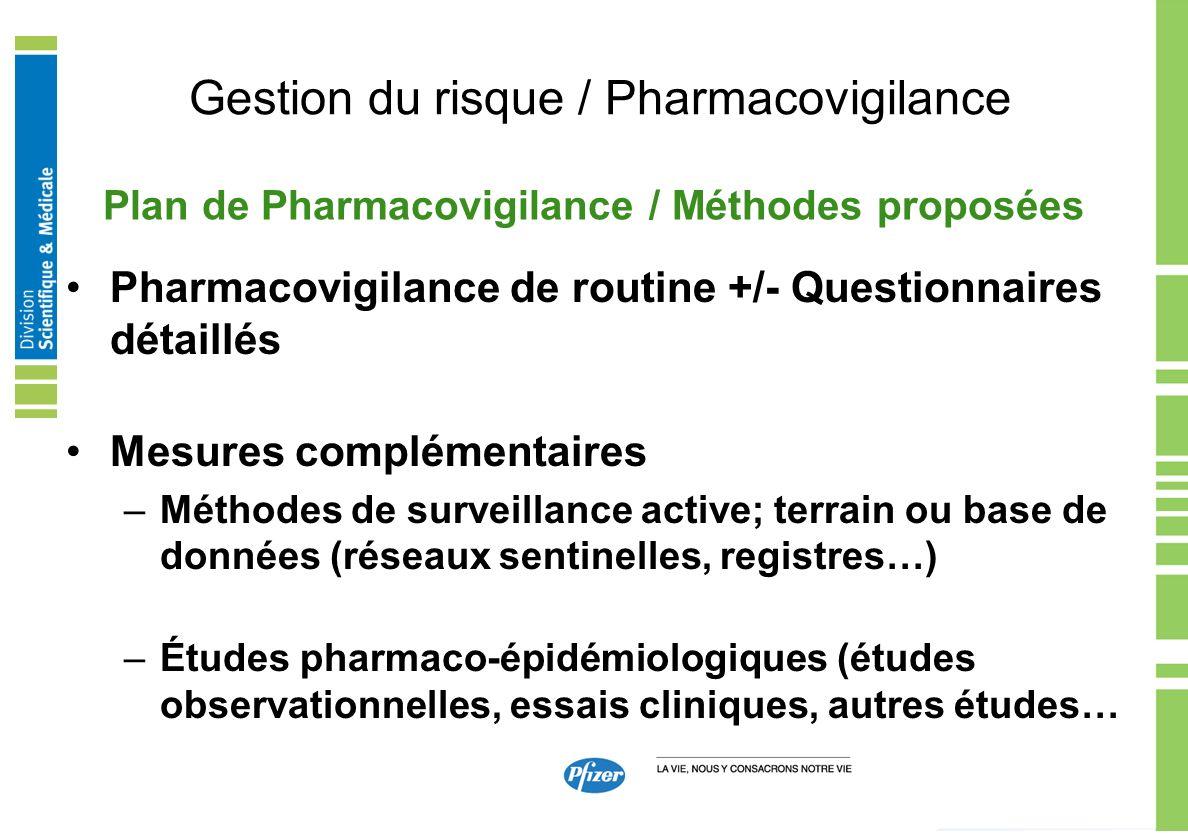 Gestion du risque / Pharmacovigilance Pharmacovigilance de routine +/- Questionnaires détaillés Mesures complémentaires –Méthodes de surveillance acti