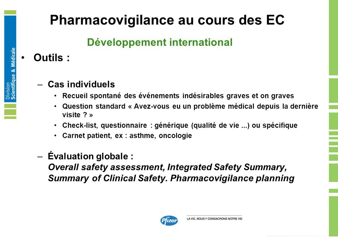 Pharmacovigilance au cours des EC Développement international Outils : –Cas individuels Recueil spontané des événements indésirables graves et on grav