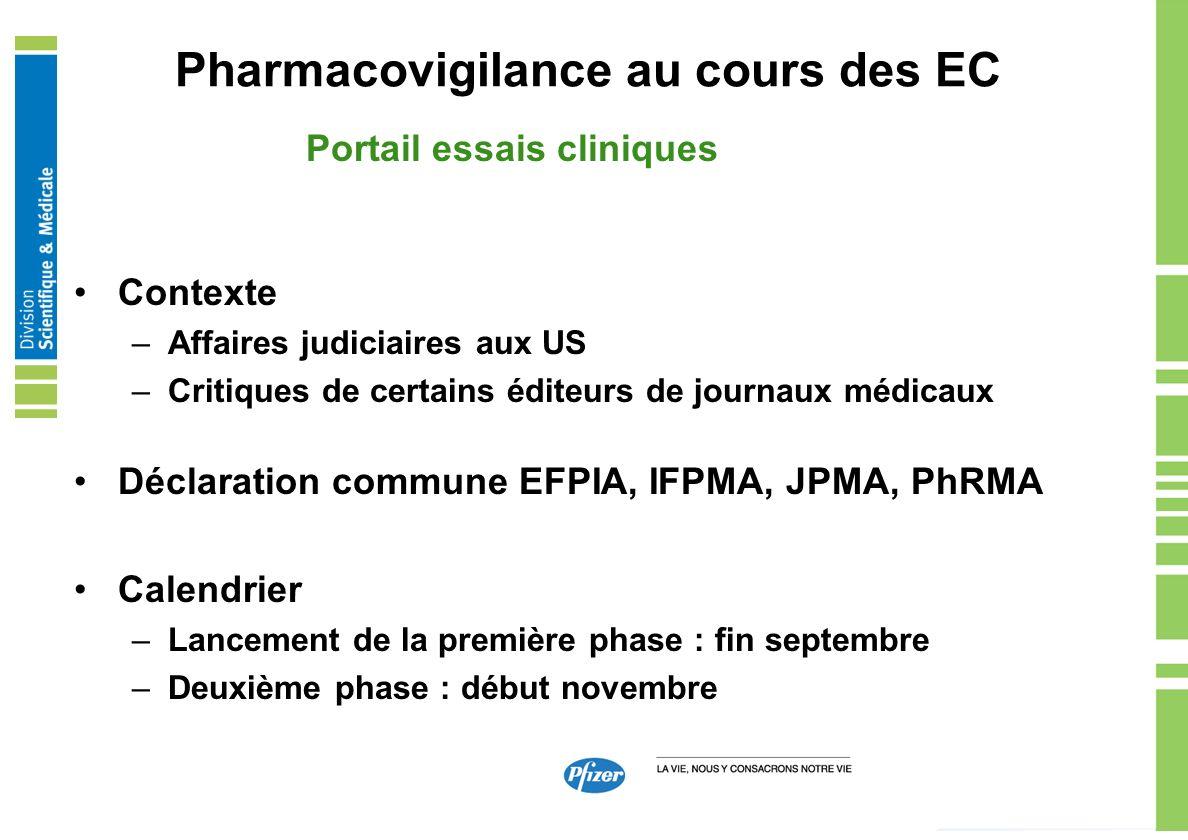 Pharmacovigilance au cours des EC Portail essais cliniques Contexte –Affaires judiciaires aux US –Critiques de certains éditeurs de journaux médicaux