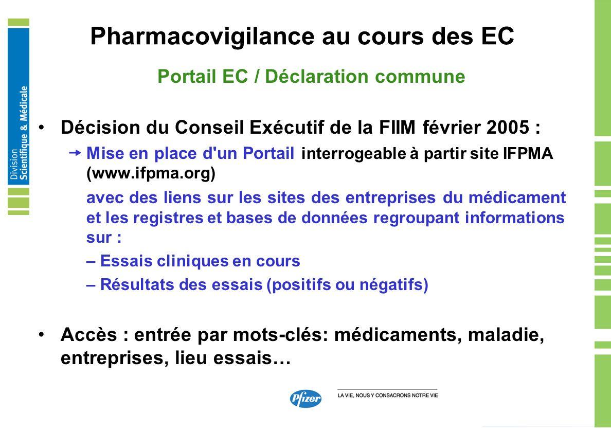 Pharmacovigilance au cours des EC Portail EC / Déclaration commune Décision du Conseil Exécutif de la FIIM février 2005 : Mise en place d'un Portail i