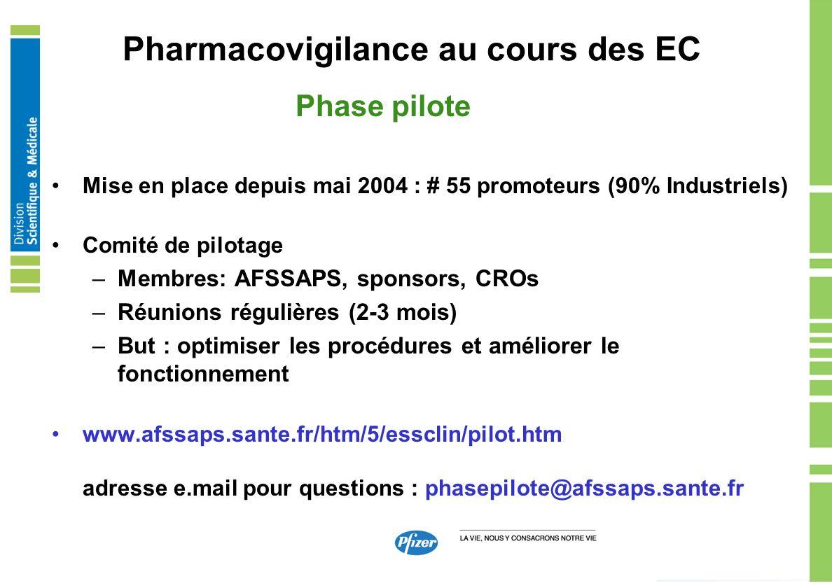 Pharmacovigilance au cours des EC Phase pilote Mise en place depuis mai 2004 : # 55 promoteurs (90% Industriels) Comité de pilotage –Membres: AFSSAPS,