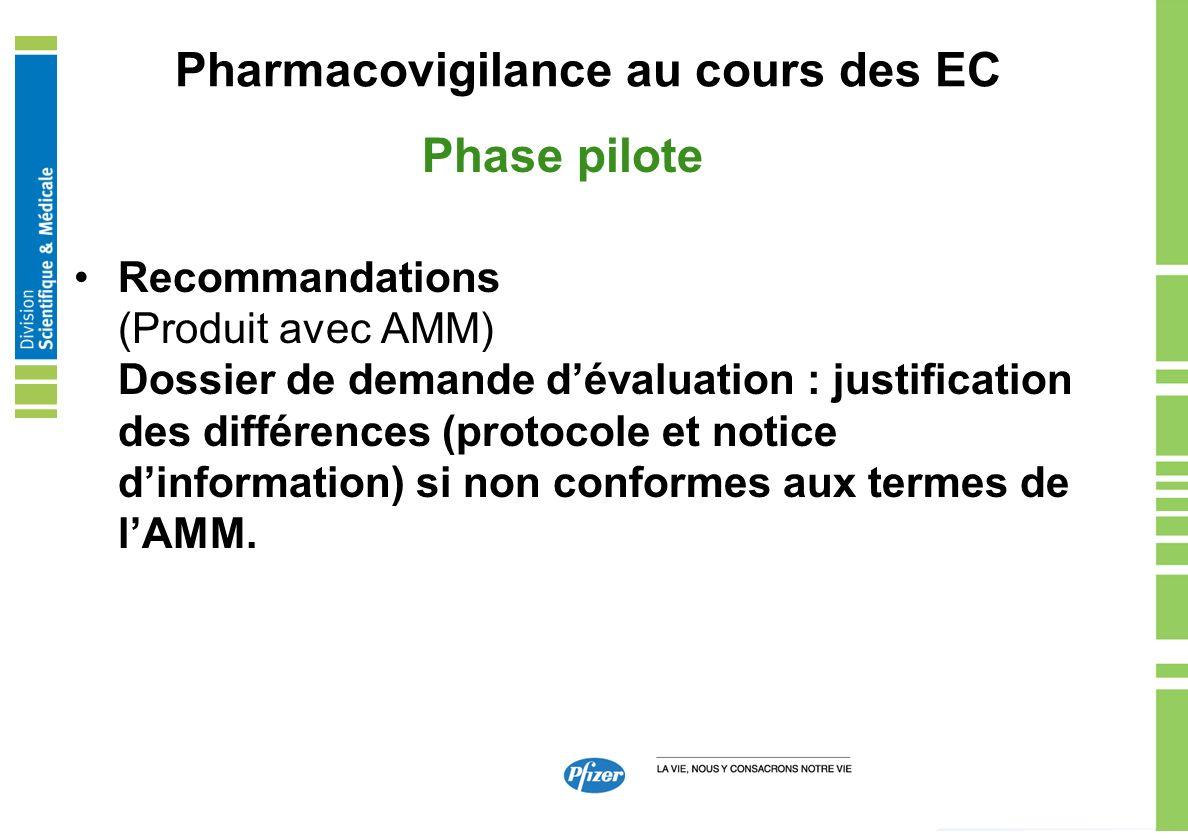Pharmacovigilance au cours des EC Phase pilote Recommandations (Produit avec AMM) Dossier de demande dévaluation : justification des différences (prot