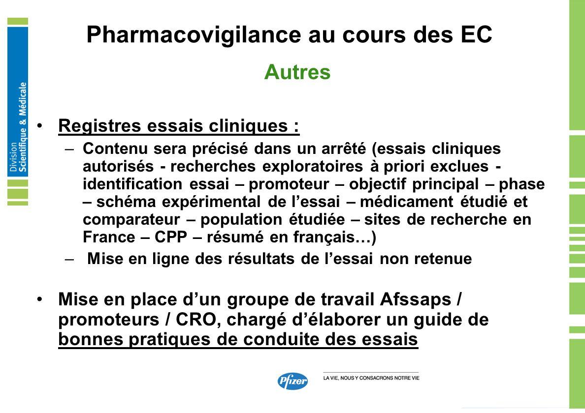 Pharmacovigilance au cours des EC Autres Registres essais cliniques : –Contenu sera précisé dans un arrêté (essais cliniques autorisés - recherches ex