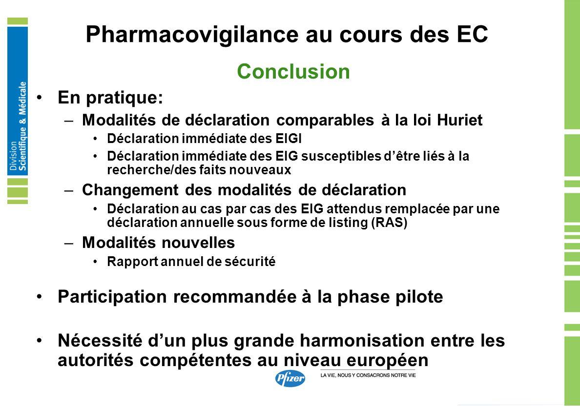 Pharmacovigilance au cours des EC Conclusion En pratique: –Modalités de déclaration comparables à la loi Huriet Déclaration immédiate des EIGI Déclara