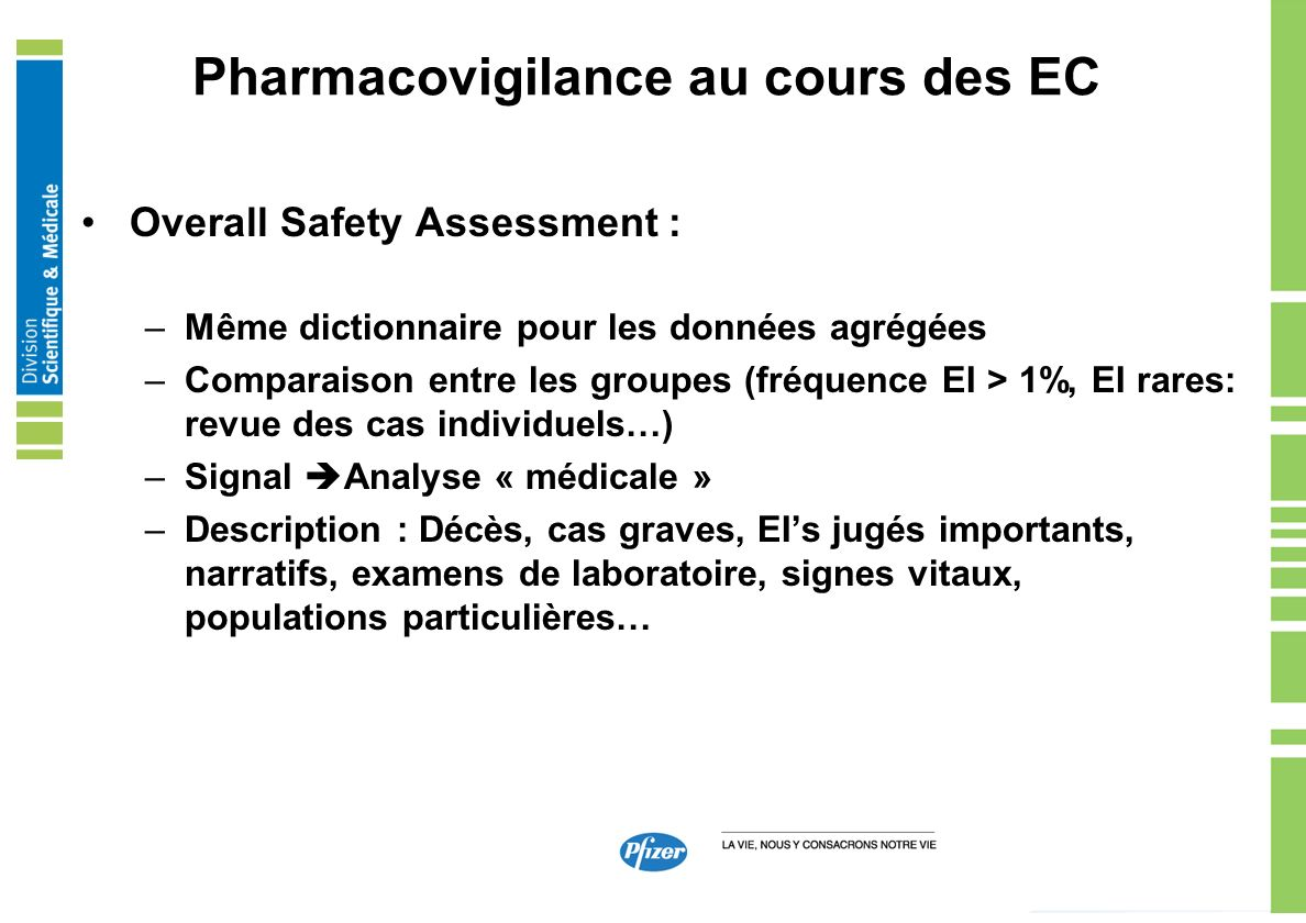 Pharmacovigilance au cours des EC Overall Safety Assessment : –Même dictionnaire pour les données agrégées –Comparaison entre les groupes (fréquence E