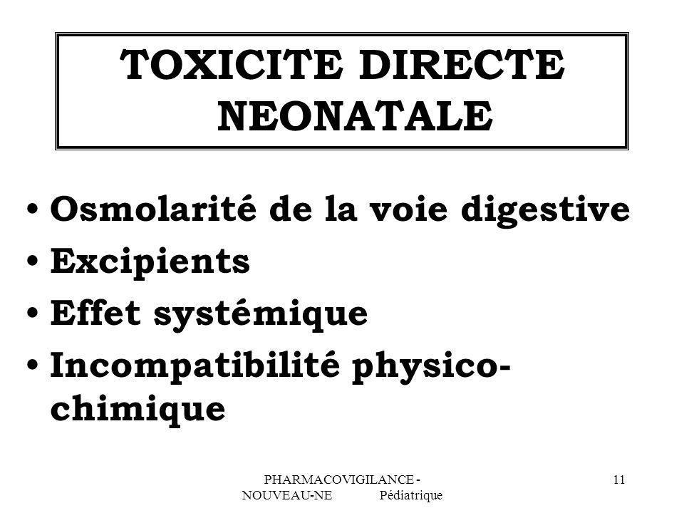 PHARMACOVIGILANCE - NOUVEAU-NE Pédiatrique 11 TOXICITE DIRECTE NEONATALE Osmolarité de la voie digestive Excipients Effet systémique Incompatibilité p