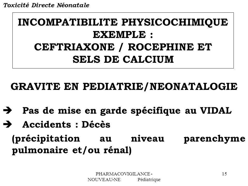PHARMACOVIGILANCE - NOUVEAU-NE Pédiatrique 15 INCOMPATIBILITE PHYSICOCHIMIQUE EXEMPLE : CEFTRIAXONE / ROCEPHINE ET SELS DE CALCIUM GRAVITE EN PEDIATRI