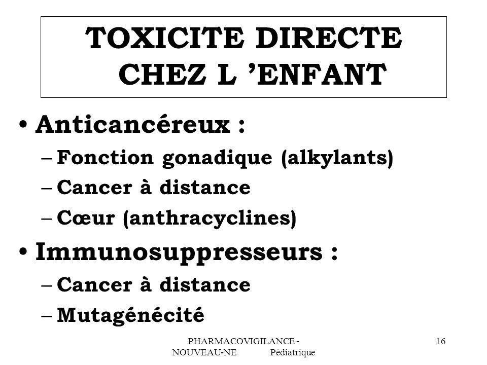 PHARMACOVIGILANCE - NOUVEAU-NE Pédiatrique 16 TOXICITE DIRECTE CHEZ L ENFANT Anticancéreux : – Fonction gonadique (alkylants) – Cancer à distance – Cœ