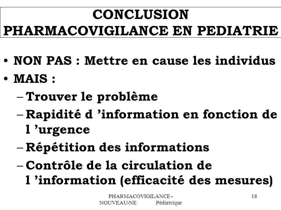 PHARMACOVIGILANCE - NOUVEAU-NE Pédiatrique 18 CONCLUSION PHARMACOVIGILANCE EN PEDIATRIE NON PAS : Mettre en cause les individus MAIS : – Trouver le pr