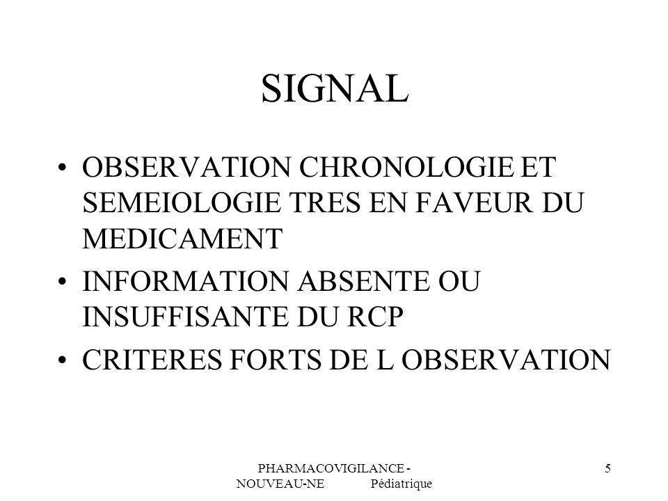 PHARMACOVIGILANCE - NOUVEAU-NE Pédiatrique 5 SIGNAL OBSERVATION CHRONOLOGIE ET SEMEIOLOGIE TRES EN FAVEUR DU MEDICAMENT INFORMATION ABSENTE OU INSUFFI