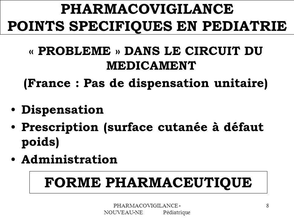 PHARMACOVIGILANCE - NOUVEAU-NE Pédiatrique 8 PHARMACOVIGILANCE POINTS SPECIFIQUES EN PEDIATRIE « PROBLEME » DANS LE CIRCUIT DU MEDICAMENT (France : Pa