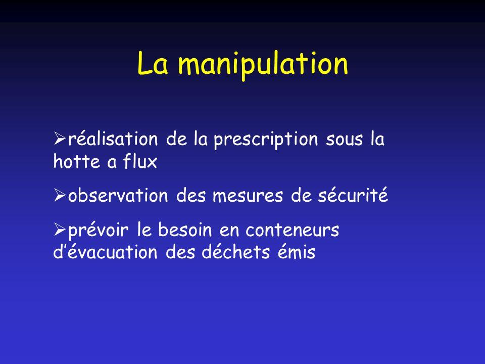La manipulation réalisation de la prescription sous la hotte a flux observation des mesures de sécurité prévoir le besoin en conteneurs dévacuation de