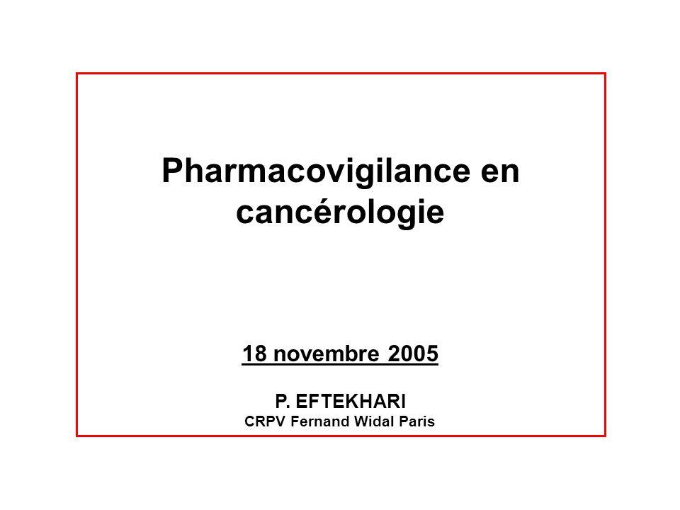 Notifications des anticancéreux en France EI notifiés pour lensemble des anticancéreux du 1 er janvier 2000 au 17 juin 2002 (CRPV de Bordeaux) : 1625 cas (3,7 % de lensemble des cas notifiés au système de pharmacovigilance) Gravité : 58 % Age moyen : 53,7 ans (<1 an-88 ans) Sexe : hommes (51,7 %)