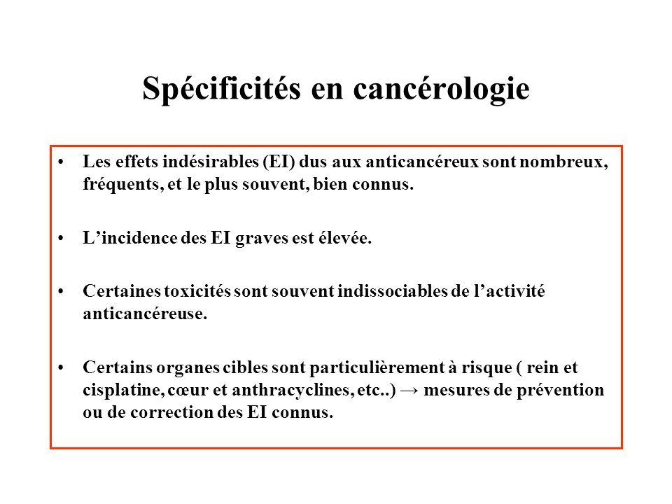 Spécificités en cancérologie Les effets indésirables (EI) dus aux anticancéreux sont nombreux, fréquents, et le plus souvent, bien connus. Lincidence