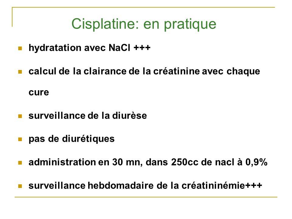 Cisplatine: en pratique hydratation avec NaCl +++ calcul de la clairance de la créatinine avec chaque cure surveillance de la diurèse pas de diurétiqu