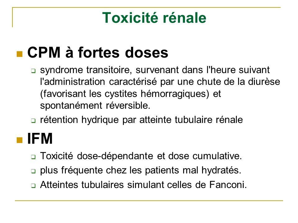 Toxicité rénale CPM à fortes doses syndrome transitoire, survenant dans l'heure suivant l'administration caractérisé par une chute de la diurèse (favo