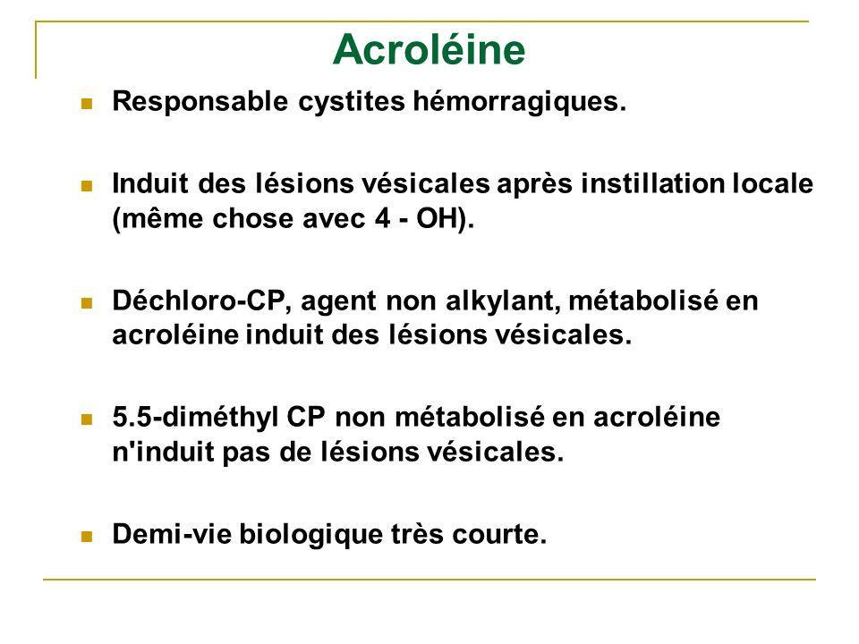 Acroléine Responsable cystites hémorragiques. Induit des lésions vésicales après instillation locale (même chose avec 4 - OH). Déchloro-CP, agent non